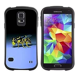 Suave TPU Caso Carcasa de Caucho Funda para Samsung Galaxy S5 SM-G900 / Wasp Bee Sting Yellow Black Blue Bug / STRONG