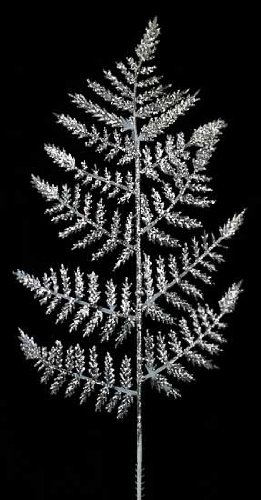 Package of 36 Artificial Silver Glitter Leather Fern Leaf Sprays for Floral Design and Party Decorating Floral Glitter Spray
