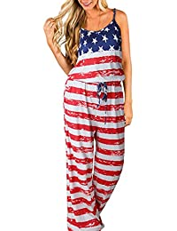 Women's Sleeveless Jumpsuit Comfy Flag Striped Jumpsuits...