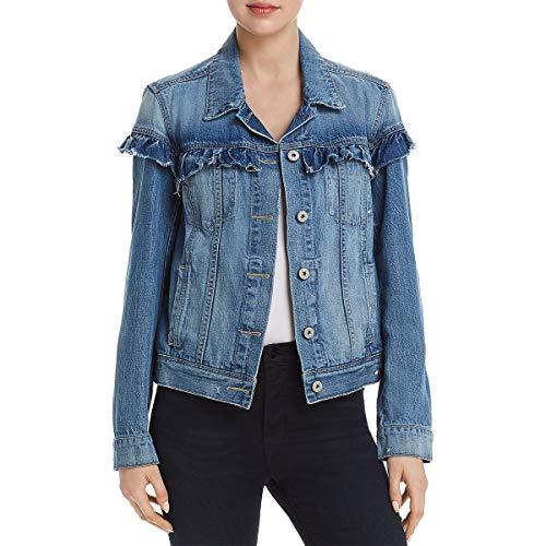 PAIGE Womens Heidi Spring Ruffled Denim Jacket Blue M