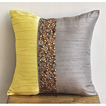 Amazon Decorative Pillow Covers 40x40 Grey Light Grey Pillow Adorable Yellow And Grey Decorative Pillows