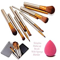 SKINPLUS Professional Cosmetics Makeup Brush In Durable Box, Set of 12 With Sponge Puff