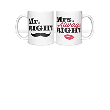 Mr. Right & Mrs. Always Right Coffee Mug Gift for Couples - Wedding, Anniversary, Newlywed Gifts Matching Set For Husband & Wife, Mom & Dad Valentine's Gift His & Hers Set of Mugs 11 Oz. White