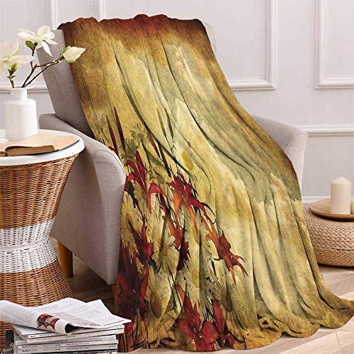 maisi Burnt Orange Digital Printing Blanket Double Exposure Burnt Worn Shaggy Retro Background with Flowers Clouds Design Summer Quilt Comforter 62