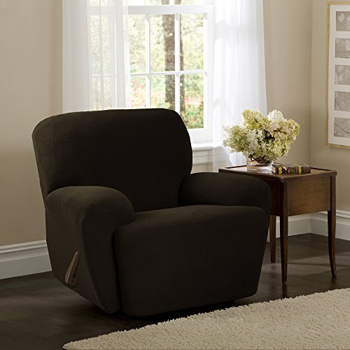 MAYTEX Pixel Ultra Soft Stretch 4 Piece Recliner Arm Chair Furniture Cover Slipcover with Side Pocket, Chocolate Brown