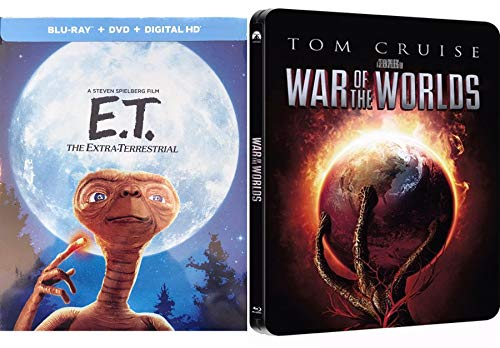 Steven Steel Double Film Special Edition Tom Cruise Sci-Fi War of the Worlds & E.T. The Extra Terrestrial Exclusive Spielberg Feature Movie Steelbook 2 Pack
