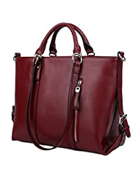 Yaluxe Women's Urban Style 3-Way Leather Work Tote Shoulder Bag Red