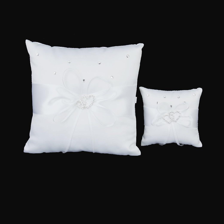 Amazon 1 X White Double Heart Rhinestone Ring Pillow Wedding