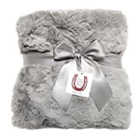 Max Daniel Luxe Gray Bunny Baby Blanket - Double-Sided - Gray Piped Edge 1116