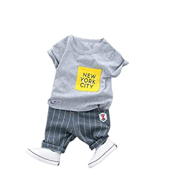 302b202fa3720 Dudu Diary Boy's Cotton Vertical Stripes Text T-shirt and Pant Set (Grey,