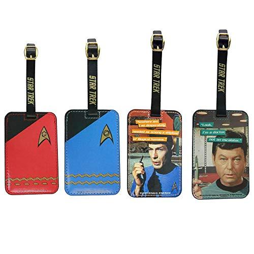 Toynk Star Trek Luggage Tag Gift Set: Spock, Dr. McCoy, Red Uniform, Blue Uniform