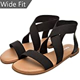 Aukusor Women's Wide Width Flat Sandals - Elastic Ankle Straps Gladiator Open Toe Casual Shoes.(180319,Black,size9)