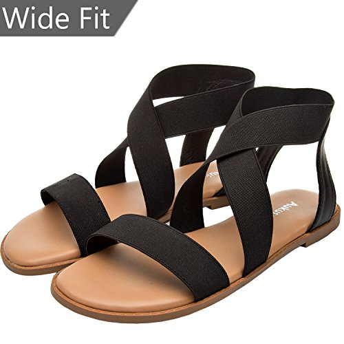 Women's Wide Width Flat Sandals - Elastic Ankle Strap Gladiator Open Toe Casual Comfortable Summer Shoes.(180319,Black,size10)