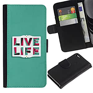 "Apple iPhone 4 / iPhone 4S , la tarjeta de Crédito Slots PU Funda de cuero Monedero caso cubierta de piel ("" Live Life Teal Inspiring Message Text"")"