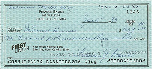 Frances E. Bavier - Check Signed 01/15/1983 (My Card Pay Bill Amazon Store)