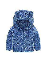 Baby Boys Girls Ear Hooded Fleece Jacket Warmth Solid Simple Coat Autumn Winter Lightweight Outwear