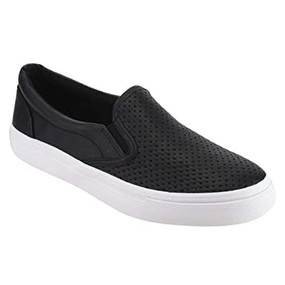 Women's Slip On White Sole Shoes - Athletic Fashion Perforated Sneaker - Padded Cushion | Shoes