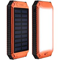 DealMux 12000mAh Solar Power Bank Charger Waterproof Portable Backup External Battery Pack with 2 USB Port + Flashlight…
