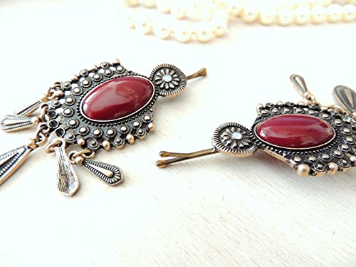 Sara Attali Design Lovely Vintage Hair Clip Antique Hair Pin Decorated Oriental Old Red