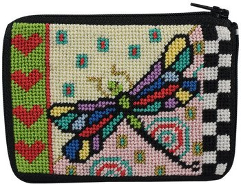 Coin Purse - Dragonfly - Needlepoint (Dragonfly Needlepoint Kit)