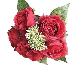 Gotian 1 Bouquet 8 Flowers Artificial Rose Fake Silk Flower Leaf Bridal Home Wedding Party Decor 77