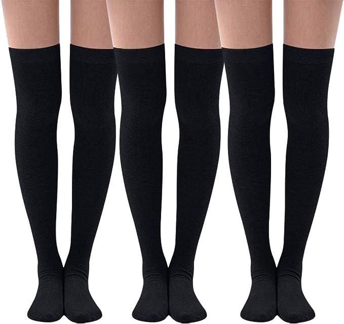 QinMMROPA 3 pares calcetines largos algodón para mujer Calcetines ...