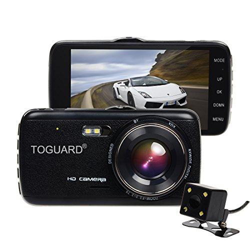 TOGUARD 4.0'' IPS Screen Auto Kamera DashCam Armaturenbrett Kamera Dual Objektiv, Rückfahrkamera, FullHD 1080P H.264, 130° Weitwinkel, WDR, Loop Aufnahme, G-Sensor