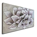 Hand Pained Flower Canvas Painting Textured Oil