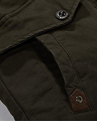 Con Verde Abrigos Capucha Chaqueta Ejército del Cremallera Cazadoras Para Con Hombre q61pUU