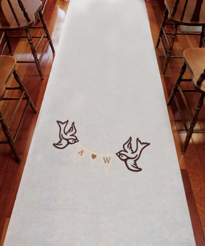 Monogram Simplicity Personalized Aisle Runner Plain White by Weddingstar Inc.