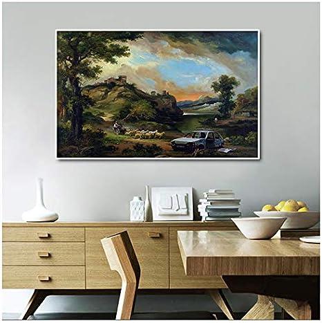 Pinturas de arte de Banksy en lienzo Arte de pared Paisaje rural Cuadros vintage para sala de estar Decoración de pared -100x70cm Sin marco