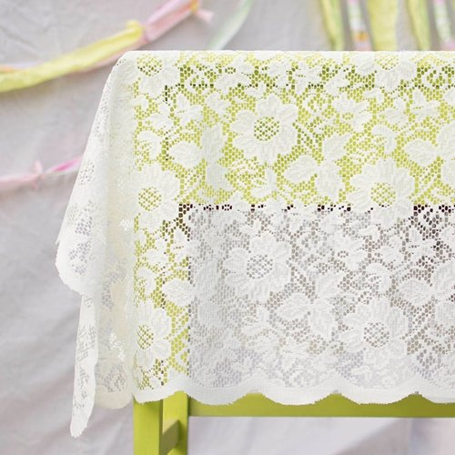 Lace Tablecloth, Square Table Cover, 54 inch wide, Scalloped, Ivory
