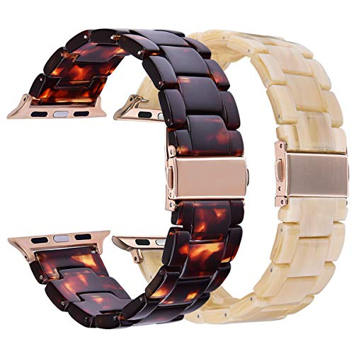 (V-MORO Resin Band Sets Compatible with Apple Watch Band 38mm 40mm Series 4/3/2/1 with Stainless Steel Buckle Copper Replacement Wristband Strap Women Men (Tortoise+Light Cream,)