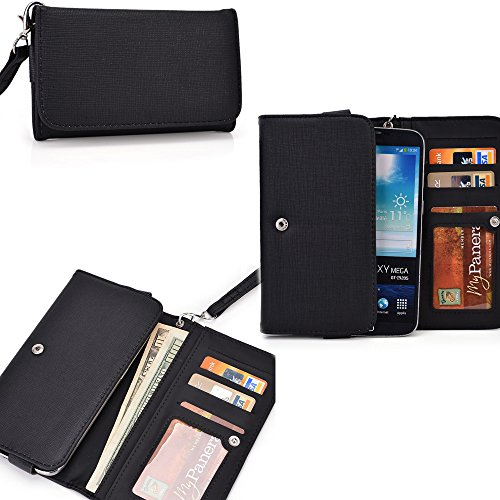 Black Ladies PU leather all in one wallet- Phone holder/ internal card slots- universal design for Oppo Find 7 QHD