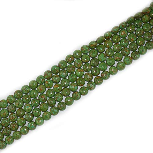 - 8mm Coin Green Imperial Jasper Beads Loose Gemstone Beads for Jewelry Making Strand 15 Inch (47-50pcs)