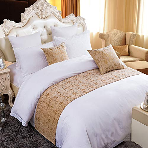 Twelve Solid Bed Runner Scarf Protector Slipcover Bed Decorative Scarf for Bedroom Hotel Wedding Room Gold (2pcs Pillowcase) (Pillows Matching And Scarves Bed)
