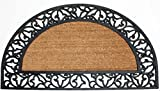 J & M Home Fashions Coir and Rubber Scroll Border Plain Half Round Doormat, 24