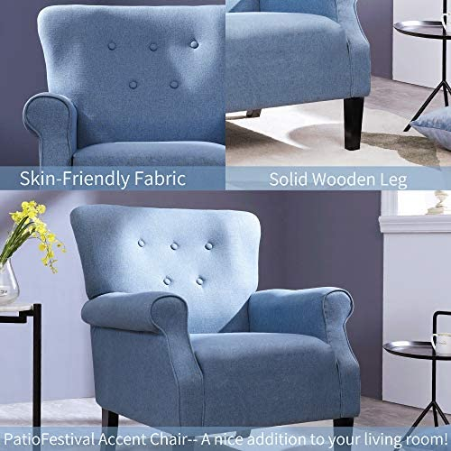 PatioFestival Accent Chair Mid Century Upholstered Roy Arm Single Sofa Living Room Chairs Modern Furniture