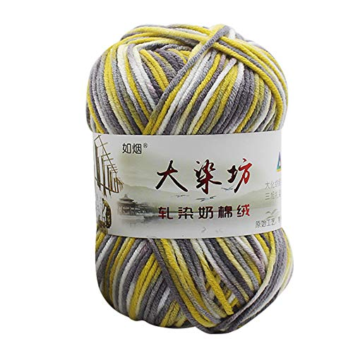 Fan-Ling Chunky Colorful Hand Knitting Milk Cotton Knitting Yarn, Assorted Colors Smooth Soft DIY Hand Knitting Baby Wool Craft Shawl Scarf Crochet Thread Supplies (Q)