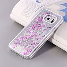 Tech Express (Tm) Silver Glitter Liquid Gel Pink Stars Quicksand Girly Kawaii Pretty Hard Cover Case for Samsung Galaxy Note 5 G920