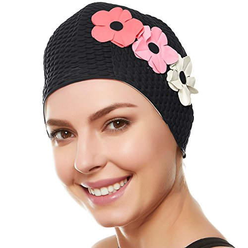 Beemo Swim Bathing Caps for Women Latex Triple Flowers-Black w/Pink & White Flowers