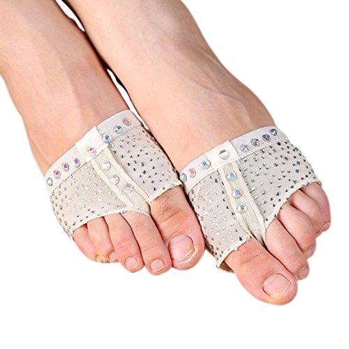 Toptie Womens Footundeez Lyrical Dance Modern Shoe Half Sole Yoga Socks Beige