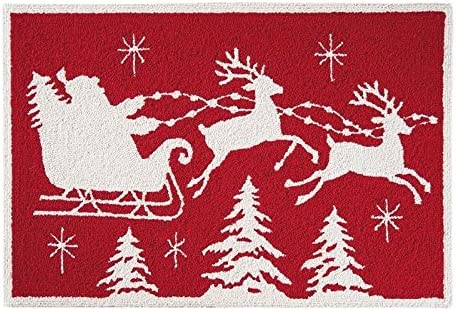 C F Home Flying Sleigh Christmas Hooked Rug, 2 x 3 , Red