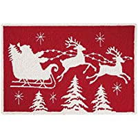 C&F Home Flying Sleigh Christmas Hooked Rug, 2 x 3, Red