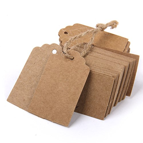 Phenovo 100pcs Paper Blank Card DIY Gift Tags Rectangle Label Brown