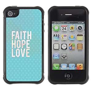 WAWU Funda Carcasa Bumper con Absorci??e Impactos y Anti-Ara??s Espalda Slim Rugged Armor -- faith happy love god blue text -- Apple Iphone 4 / 4S