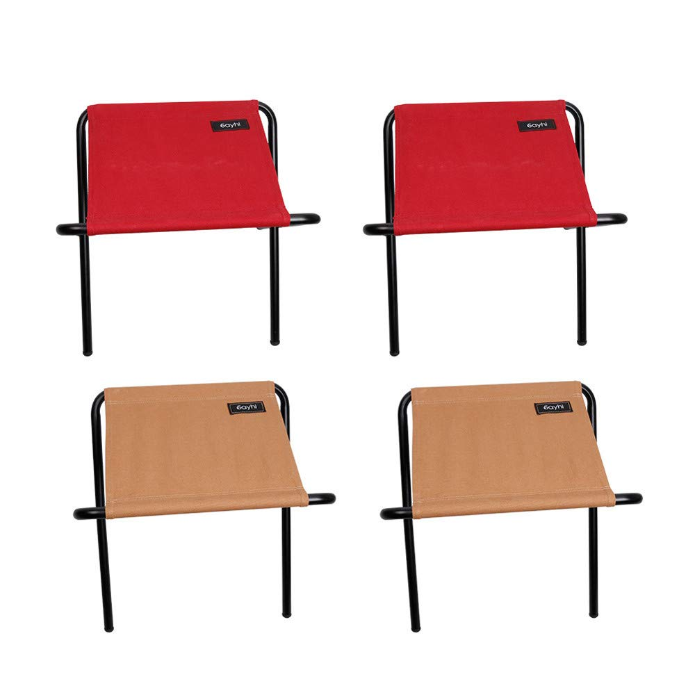 Portable Indoor Outdoor Picnic Fishing Dining Camp Folding Stool Set 4, Adagod Package:4 x Portable Folding Chair(2 Red+2 Brown)+1 x Storage Bag+1 x Package Box