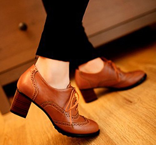 Pointed Boots Lace Mid Ankle Women's Brown Dress Toe Stacked Shoes Up Vintage Aisun Heels Oxfords gZv1qwzEza