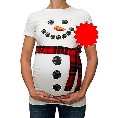 Umstandsmode Damen Kurzarm O-Ausschnitt Shirt mit Schneemann Muster Süße  Weihnachten Umstandsshirt T-Shirt d7503200a3