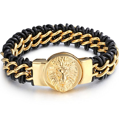 New Cool Yellow Gold 316L Stainless Steel Lion head Clasp